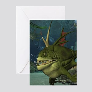 Awesome armourfush in the deep ocean Greeting Card