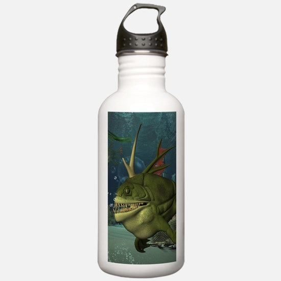 Awesome armourfush in the deep ocean Water Bottle