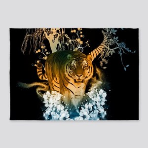 Beautiful tiger with flowers 5'x7'Area Rug