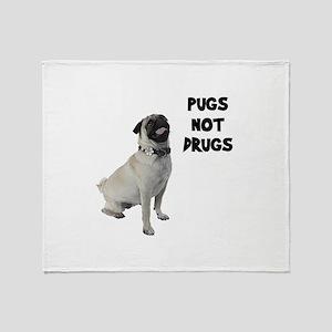 Pugs Not Drugs Throw Blanket