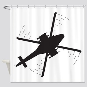 Attack helicopter Silhouette Shower Curtain