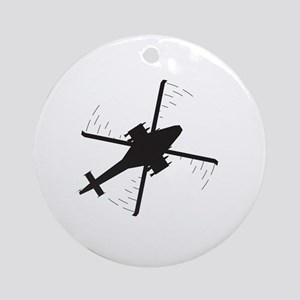 Attack helicopter Silhouette Round Ornament