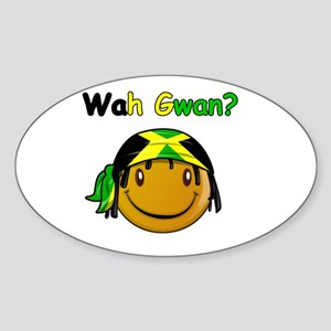 Wah Gwan? Jamaican slang Oval Sticker