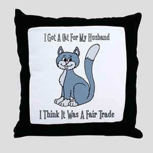 Cat For My Husband Throw Pillow