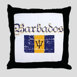Bajan distressed flag Throw Pillow