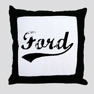 Vintage Ford (Black) Throw Pillow
