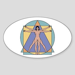 Vitruvian Woman Oval Sticker