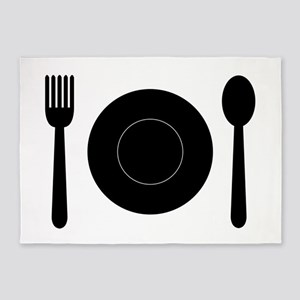 plate with cutlery 5'x7'Area Rug