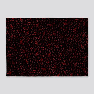 rot music notes in black background 5'x7'Area Rug