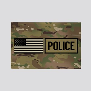 Police: Camouflage Rectangle Magnet
