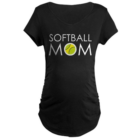Softball Mom Maternity Dark T-Shirt