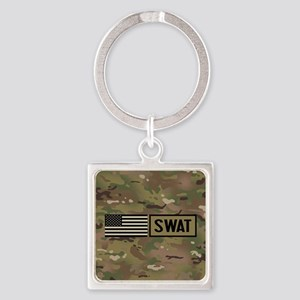SWAT: Camouflage Square Keychain