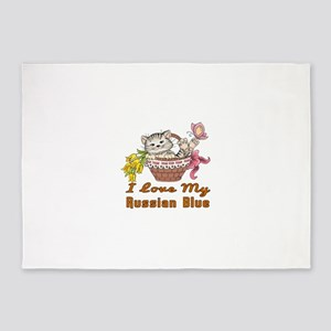 I Love My Russian Blue Designs 5'x7'Area Rug