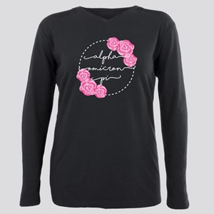 Alpha Omicron Pi Floral Plus Size Long Sleeve Tee