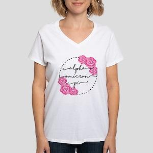 Alpha Omicron Pi Floral Women's V-Neck T-Shirt