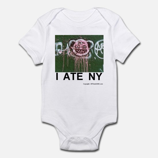 I ATE NY humor ravenous baby suit. monster face.