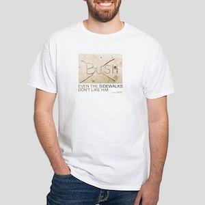 anti-BUSH humorous White T-shirt crossout pic