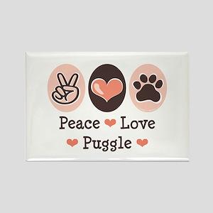 Peace Love Puggle Rectangle Magnet