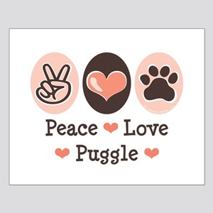 Peace Love Puggle Small Poster