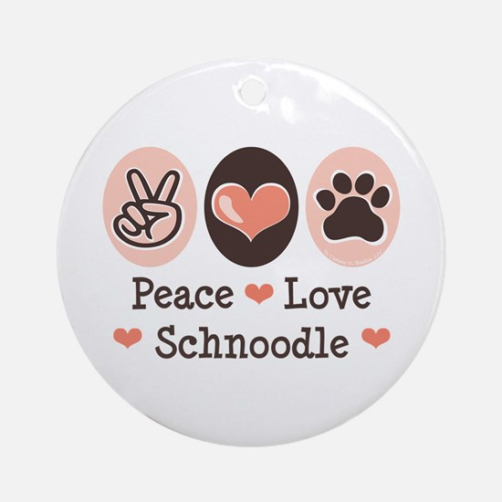 Peace Love Schnoodle Ornament (Round)