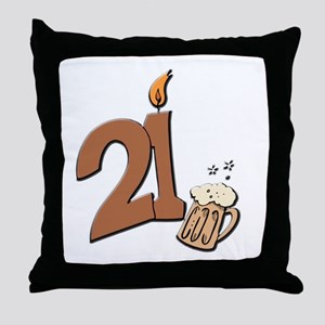 21st birthday candle & beer Throw Pillow