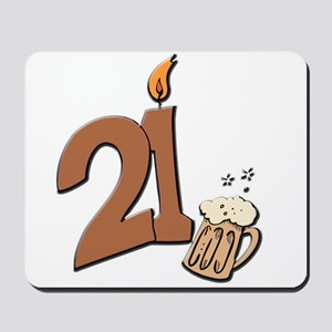 21st birthday candle & beer Mousepad