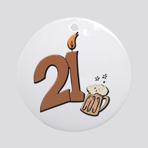 21st birthday candle & beer Ornament (Round)