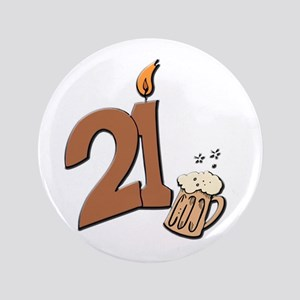 """21st birthday candle & beer 3.5"""" Button"""