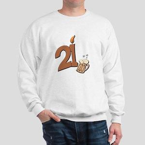 21st birthday candle & beer Sweatshirt