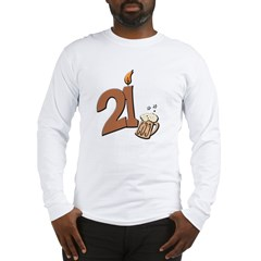 21st birthday candle & beer Long Sleeve T-Shirt