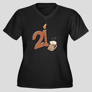 21st birthday candle & beer Women's Plus Size V-Ne
