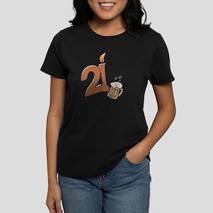 21st birthday candle & beer Women's Dark T-Shirt