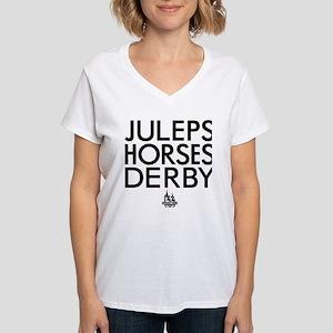 Juleps Horses Derby Women's V-Neck T-Shirt