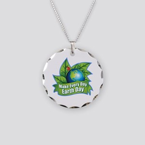 Make Every Day Earth Day Necklace Circle Charm