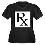 Rx Symbol Women's Plus Size V-Neck Dark T-Shirt