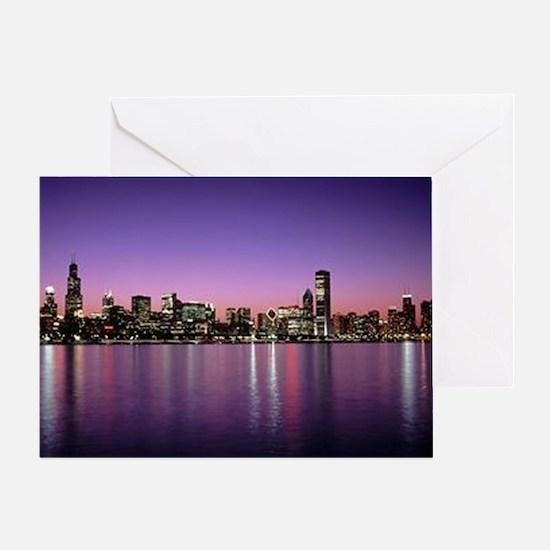 Chicago Nitetime Skyline Greeting Card