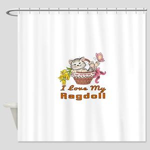 I Love My Ragdoll Designs Shower Curtain