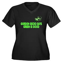 Gordon Gecko Women's Plus Size V-Neck Dark T-Shirt
