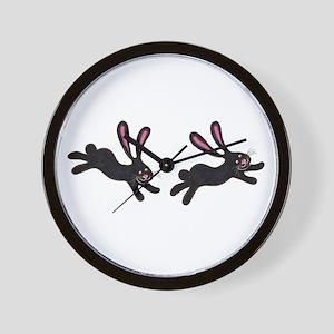 black bunnies Wall Clock