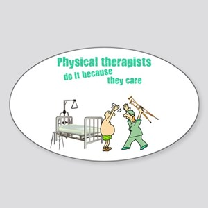 Female Physical Therapist Oval Sticker