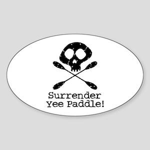 Kayaking Pirate Oval Sticker