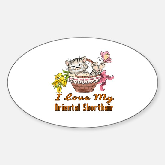 I Love My Oriental Shorthair Design Sticker (Oval)