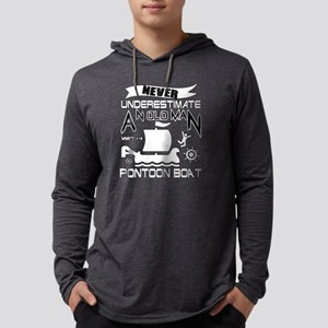 Old Man With A Pontoon Boat T Long Sleeve T-Shirt