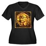 GOLDEN DRAGO Women's Plus Size V-Neck Dark T-Shirt