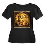 GOLDEN D Women's Plus Size Scoop Neck Dark T-Shirt