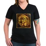 GOLDEN DRAGON Women's V-Neck Dark T-Shirt