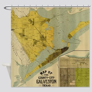 Vintage Map of Galveston Texas (189 Shower Curtain