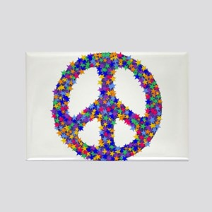 Starry Peace Sign Rectangle Magnet