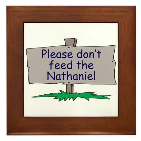 Please don't feed the Nathani Framed Tile