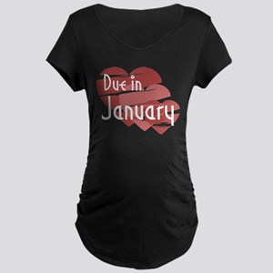 Due In January Red Hearts Maternity Dark T-Shirt